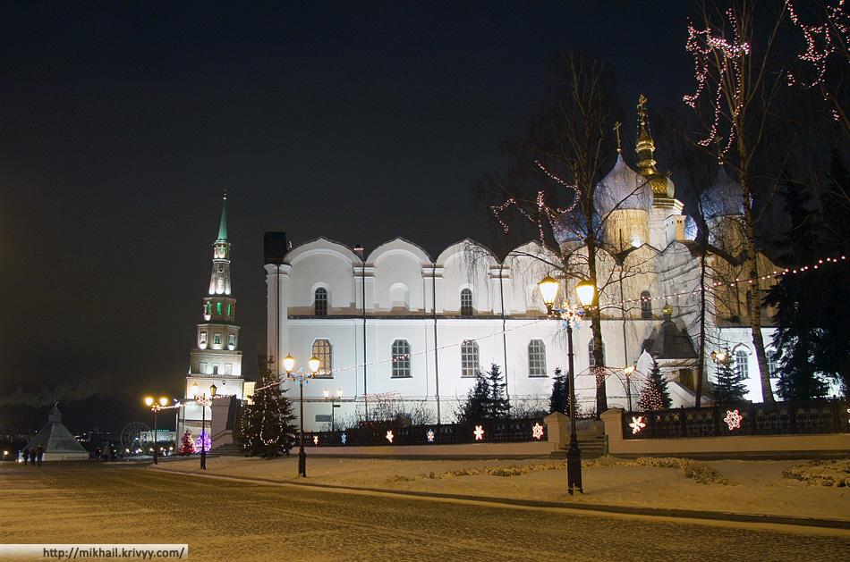 Кремль. Башня Сююмбике и Благовещенский собор.