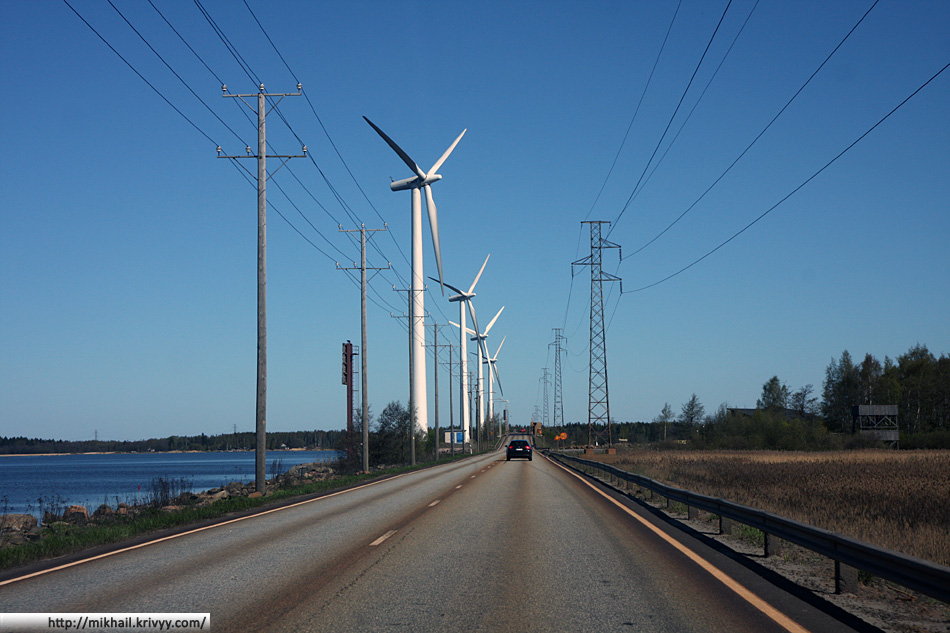 Ветрянные электростанции. Дамба Reposaarin Maantie.