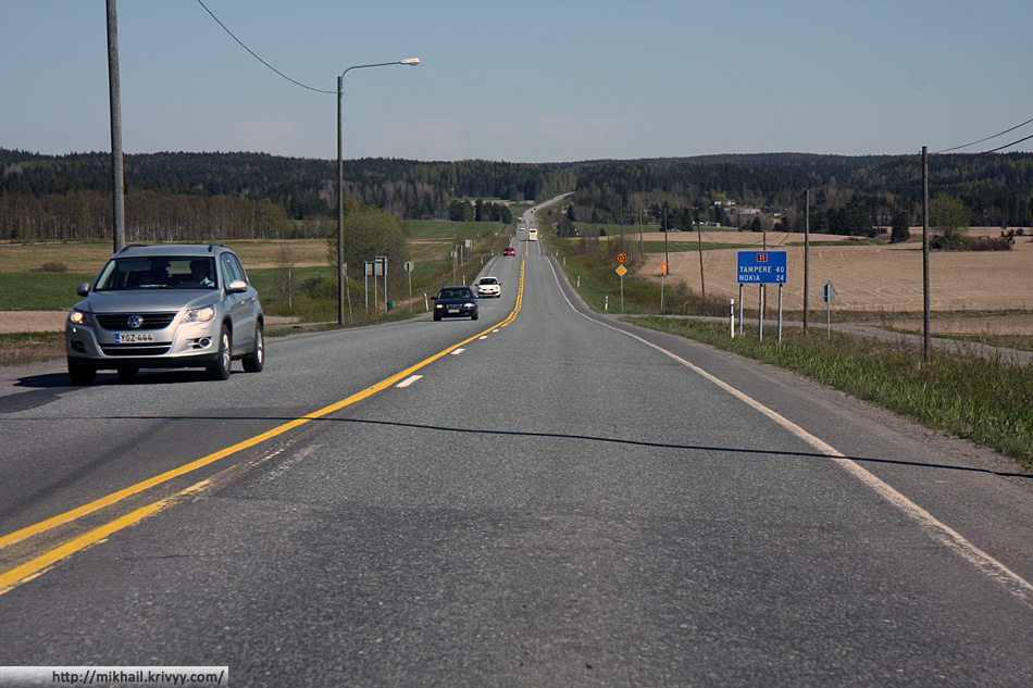 Обратная дорога. Автодорога №11, участок между Пори (Pori) и Тампере (Tampere).