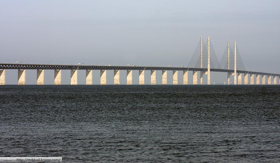 Эресуннская переправа (Oresund Bridge). Общий вид на мост.