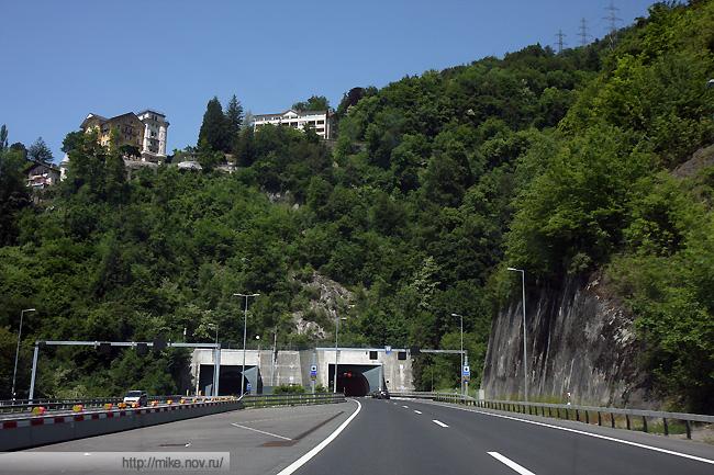 Тоннель на 9 магистрали в Швейцарии.