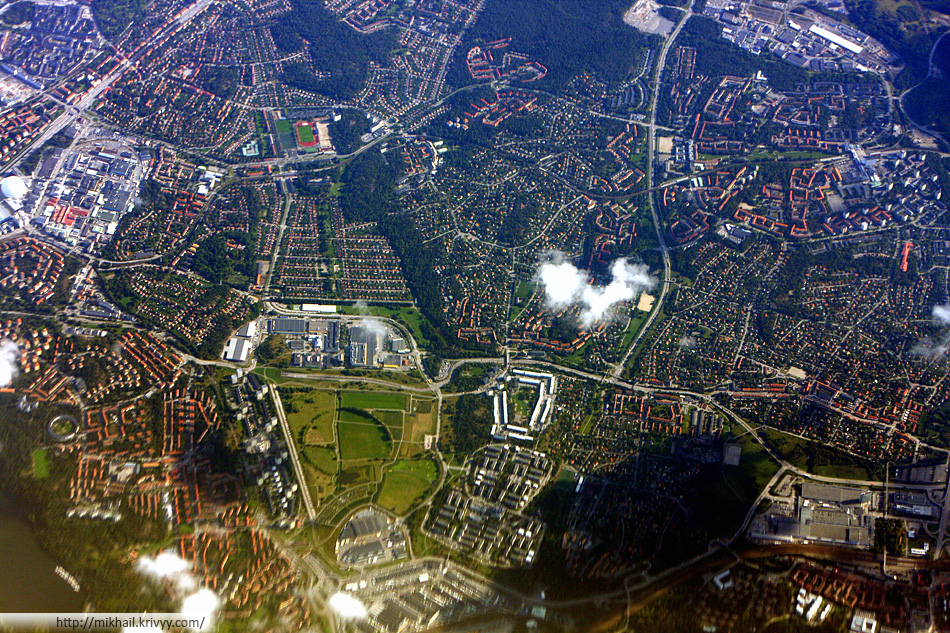 Вида на Стокгольм через илюминатор Ryanair