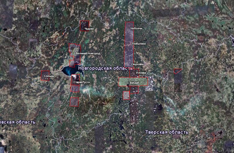 Текущее покрытие Новгордской области на Google Maps.