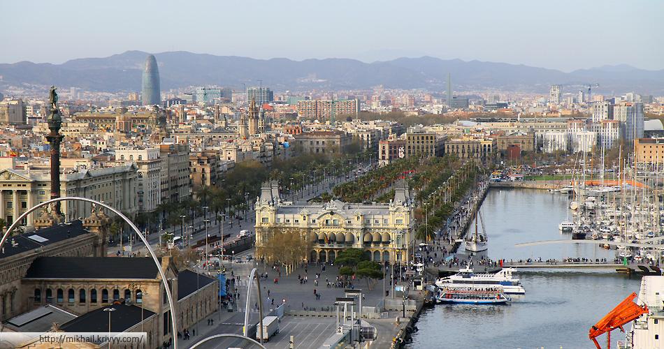 Панорама приморской части Барселоны. Слева виден памятник Колумбу.