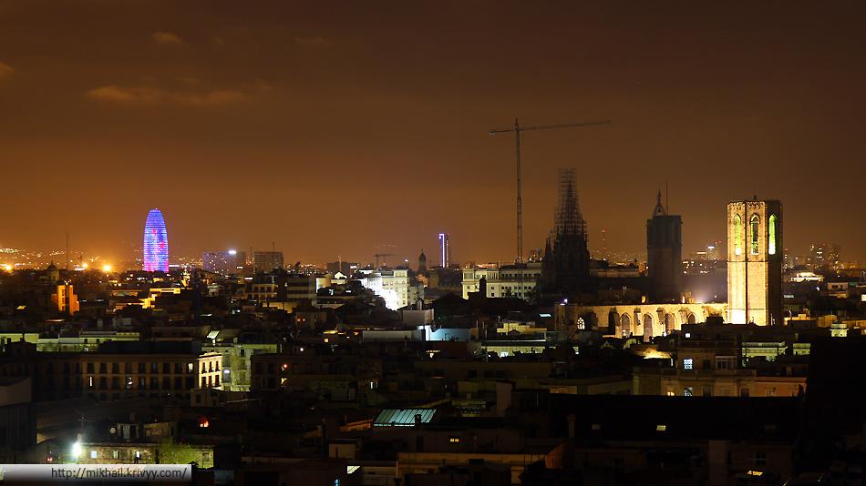 Ночная панорама - фотография с крыши гостиницы Barcelo Raval