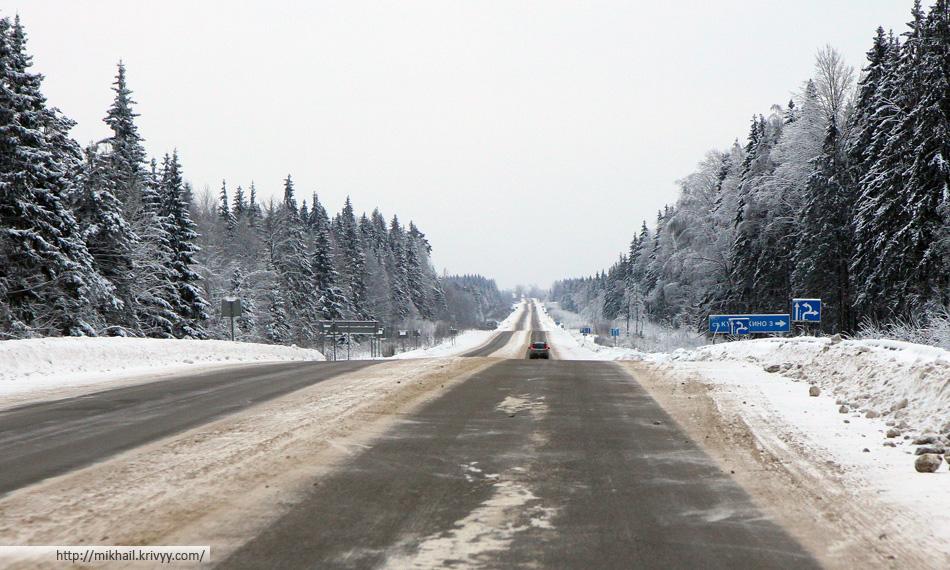 M10/E105 в районе Вышнего Волочка (Тверская область). 1 января.