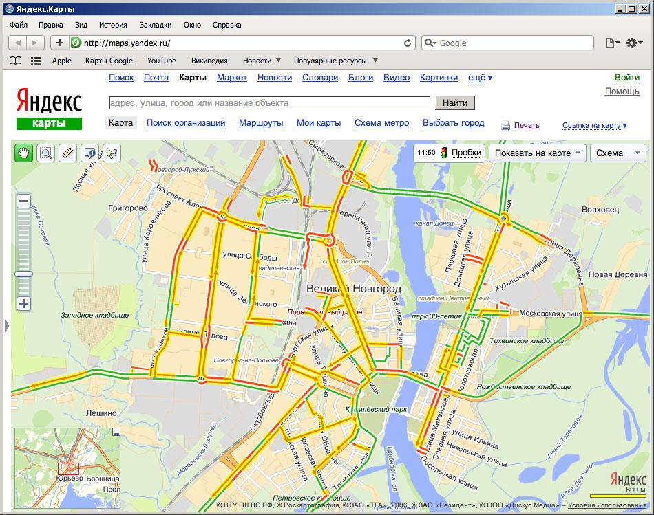 Яндекс-Пробки в Великом Новгороде.