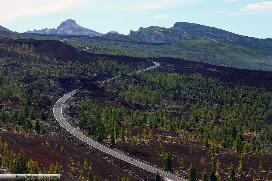Шоссе TF-38. Вид в стороны кальдеры вулкана Тейде.