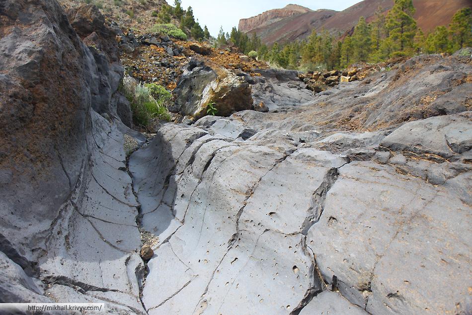 """Гладкие вулканические образования. Единственное место где мы видели """"гладкую лаву"""" не Тенерифе."""