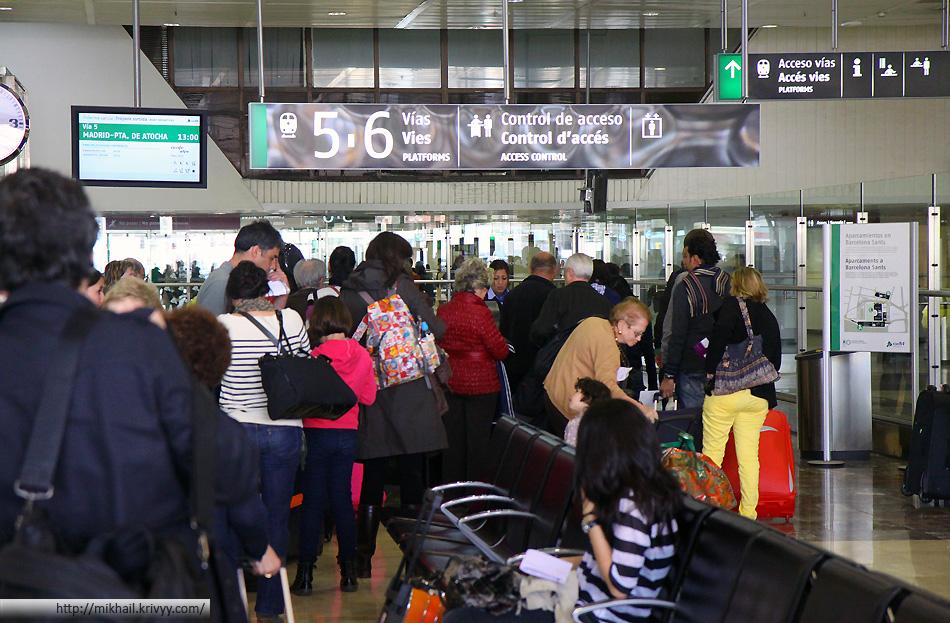 Регистрация на рейс Барселона - Мадрид.