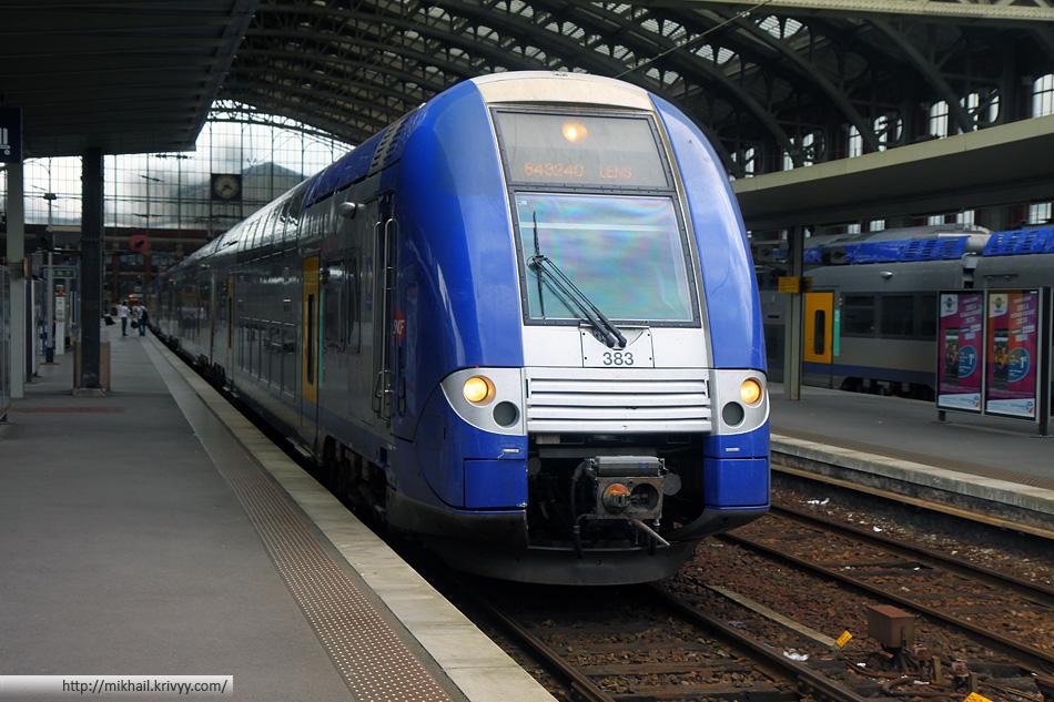 Вот такие электрички ходят между Лансом и Лиллем. Это фотография сделана на вокзале Lille Flandres.
