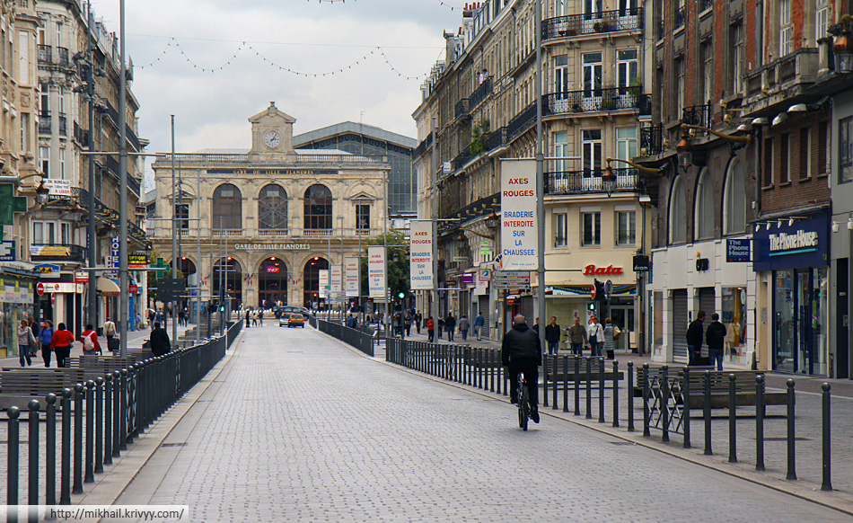 Вокзал Лилль Фландр (Lille Flandres). Вид с улицы Фэдерб (Rue Faidherbe)
