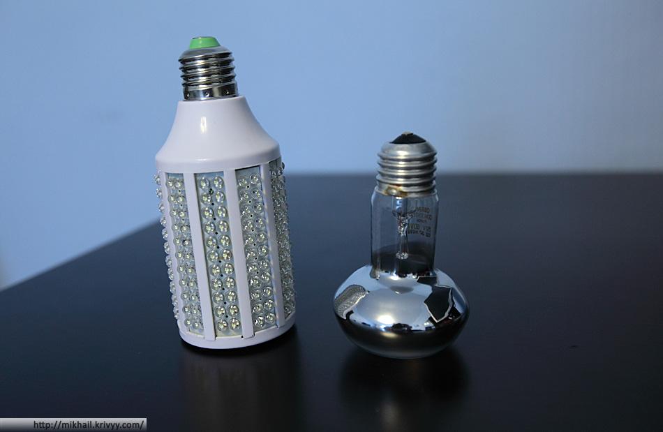 5W 263-LED 1600-Lumen Energy Saving White LED Light Bulb (220V) в сравнении с почти традиционной лампой накаливания