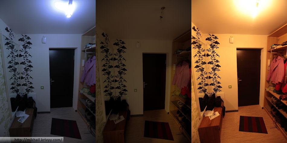 Слева - светодиодная лампа. По центру - без освещения. Справа - лампа накаливания, 100 ватт. Все фотографии сделаны с одинаковой экспозицией и ручным балансом белого.