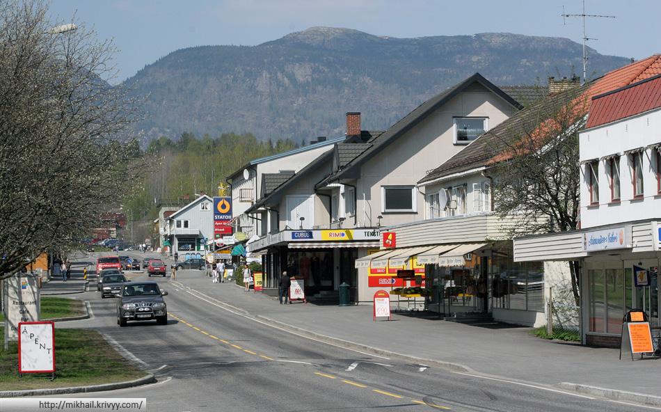 Центральная улица Норвежского городка Бё