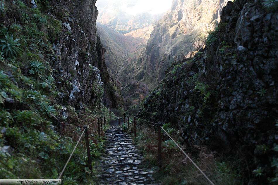 По дороге от пика Арейро (Pico Arieiro) к пику Руйву (Pico Ruivo). Вид в сторону Encumiado и São Vicente.