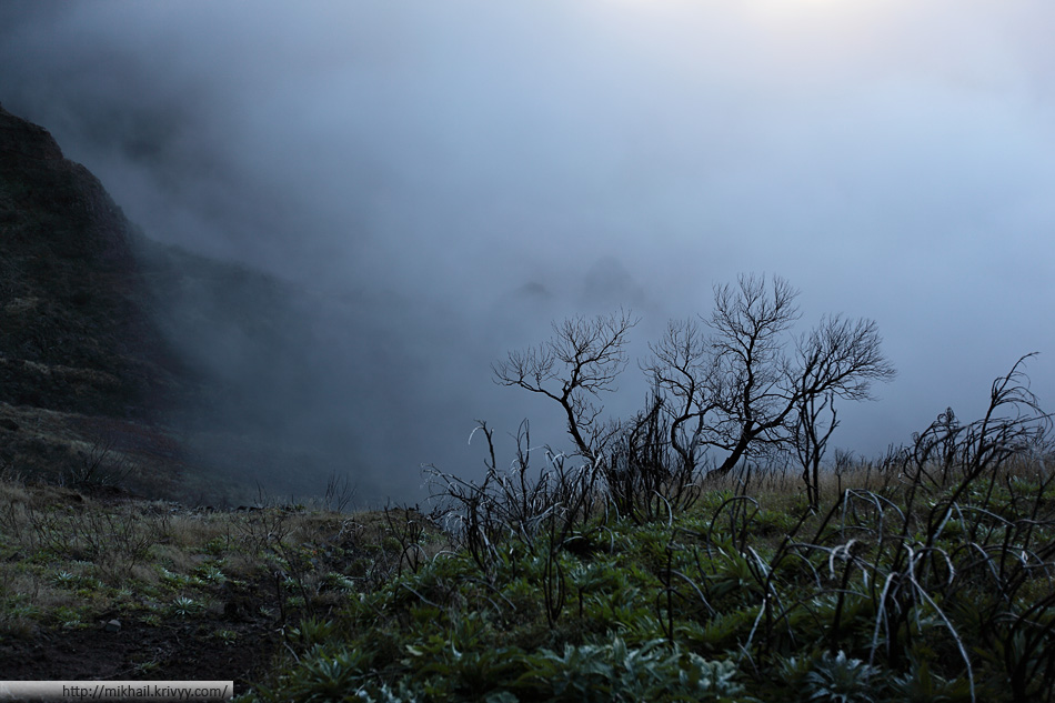 По дороге от пика Арейро (Pico Arieiro) к пику Руйву (Pico Ruivo).