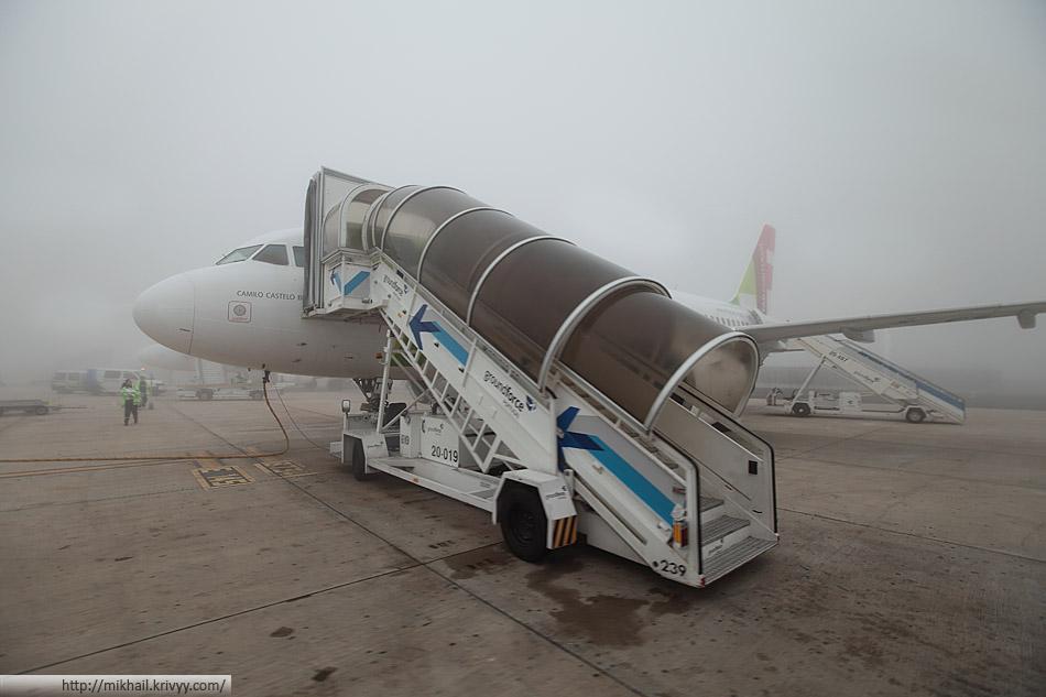Туман в аэропорту Лиссабона.