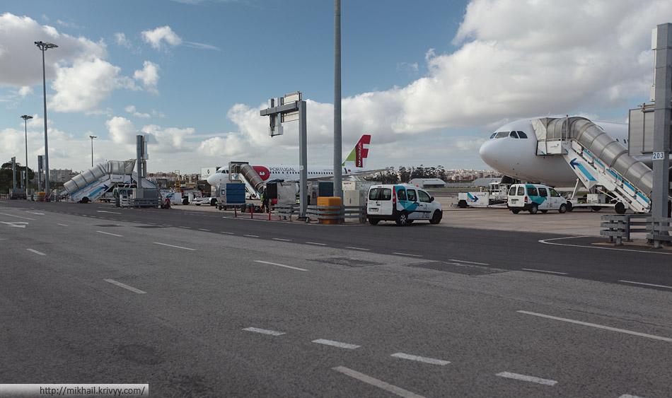 Перрон у второго терминала аэропорта Лиссабона. Тут трутся только самолеты Tap Portugal и SATA.