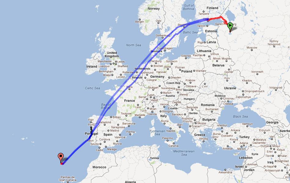 Карта переездов и перелетов. Великий Новгород - Хельсинки - Лиссабон - Мадейра.