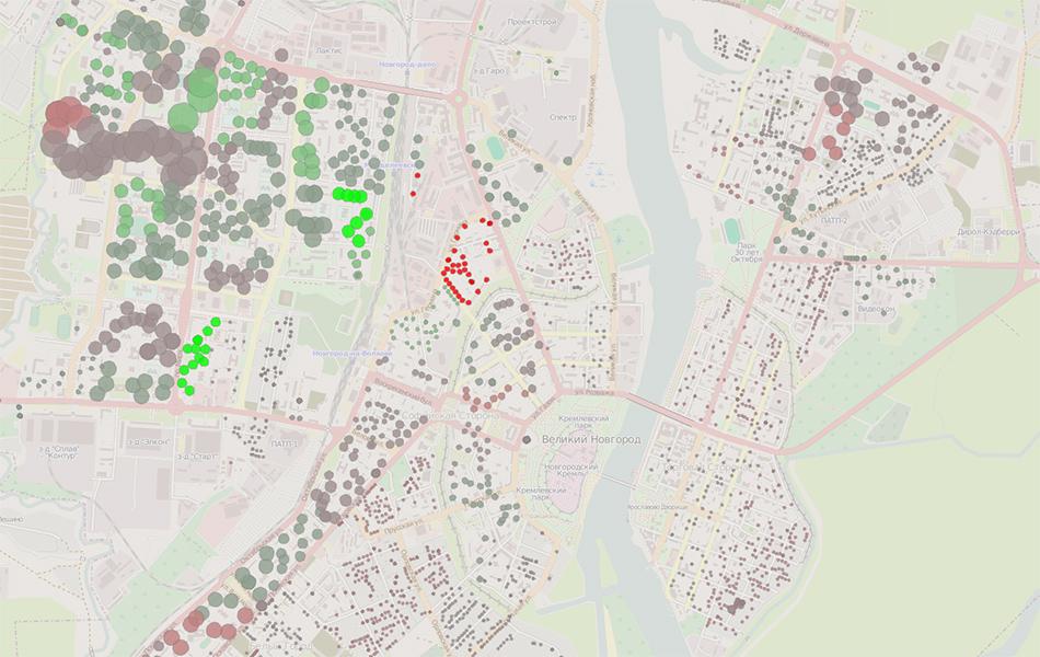 Карта: распределение голосов по избирательным участкам Великого Новгорода