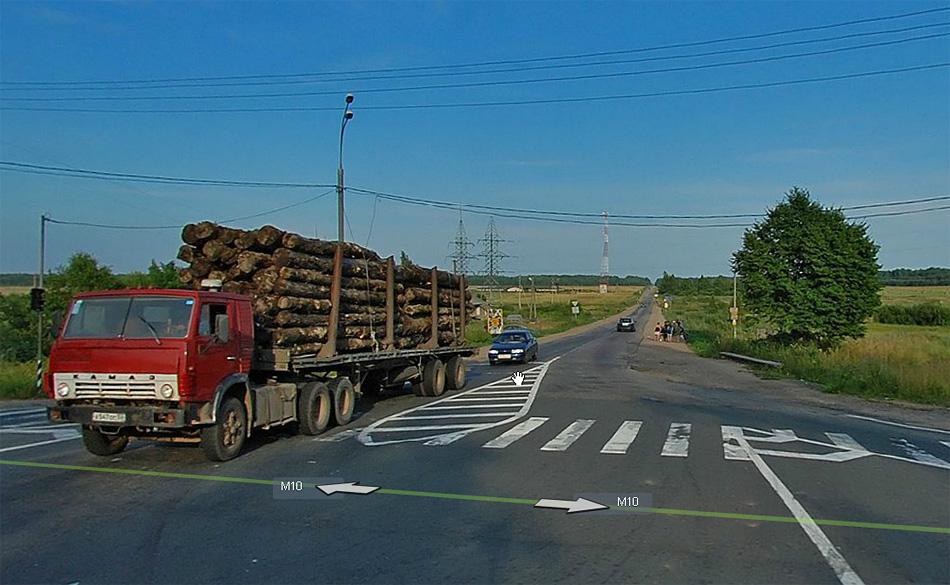 Автодорога Р53. Поворот с M10 в сторону Малой Вишеры. Источник: maps.yandex.ru