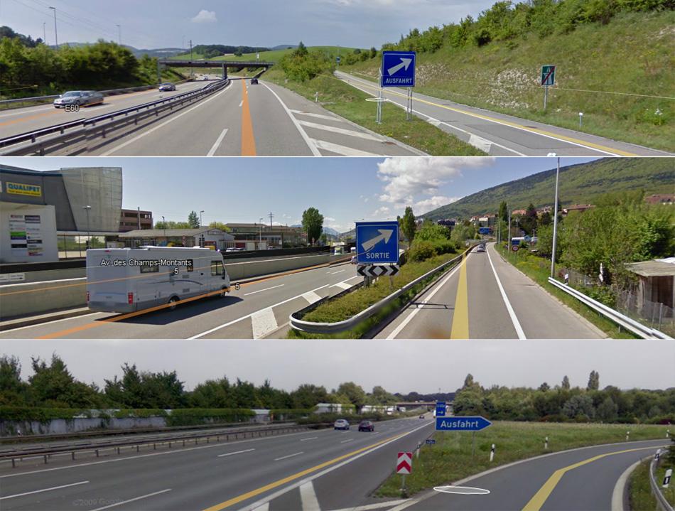 """Знак """"выход"""" с автомагистрали. Источник: maps.google.com"""