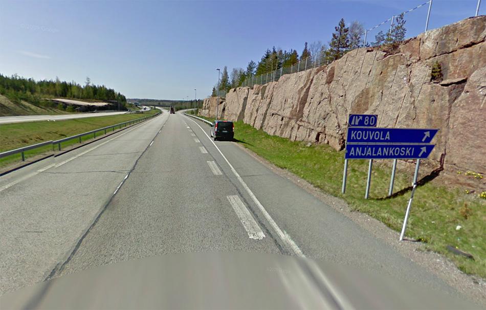 Финляндия. E18 - автомагистраль между Hamina и Kotka.