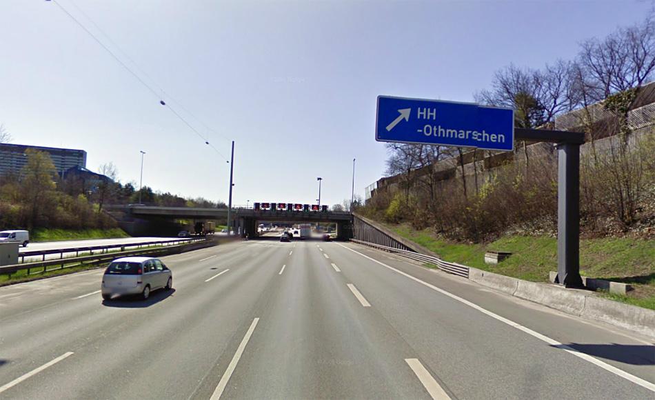 Автомагистраль E45 в Гамбурге.