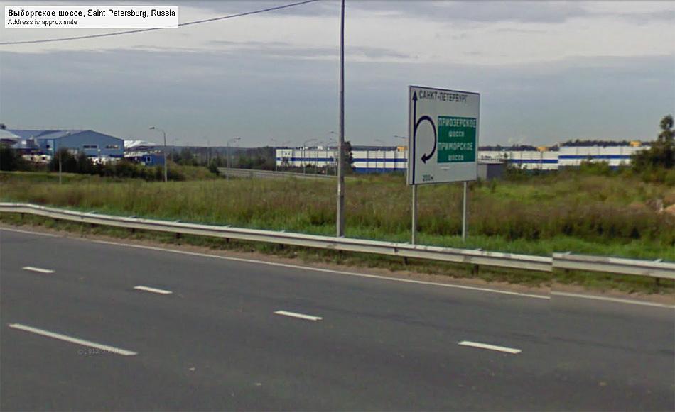 Съезд на СПБ КАД с Выборгского шоссе. Источник: maps.google.com