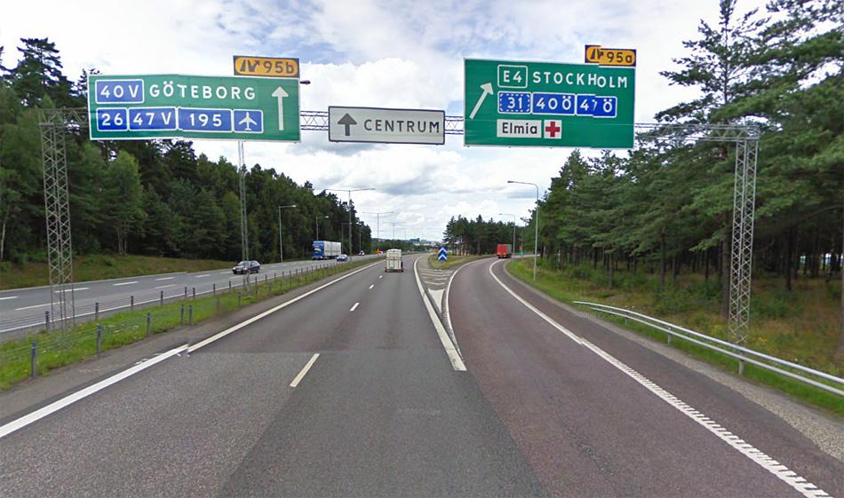 Швеция. Автомагистраль E4 в районе Йёнчёпинг.