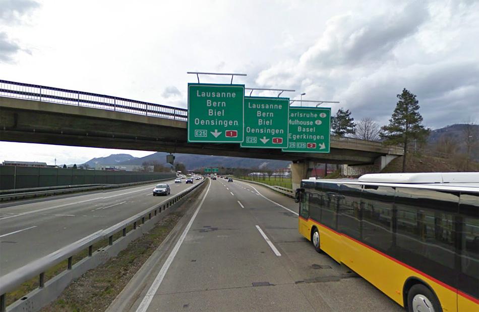 Швейцария. E25. Источник: maps.google.com