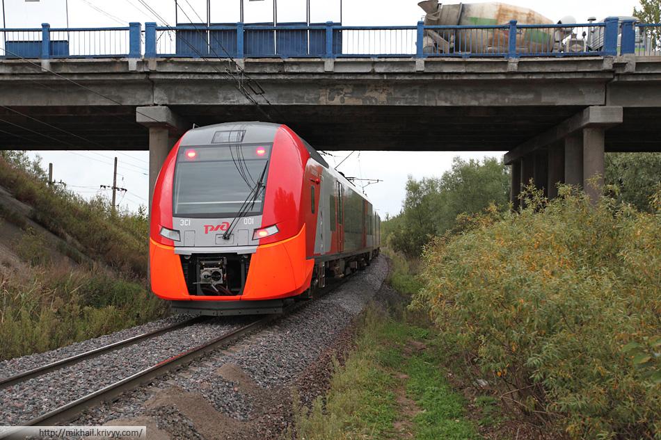 """Электропоезд ЭС1-001 """"Ласточка"""" (Siemens Desiro)."""