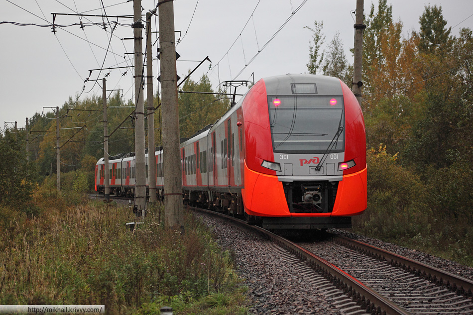 "Электропоезд ЭС1-001 ""Ласточка"" (Siemens Desiro). Мясной Бор."