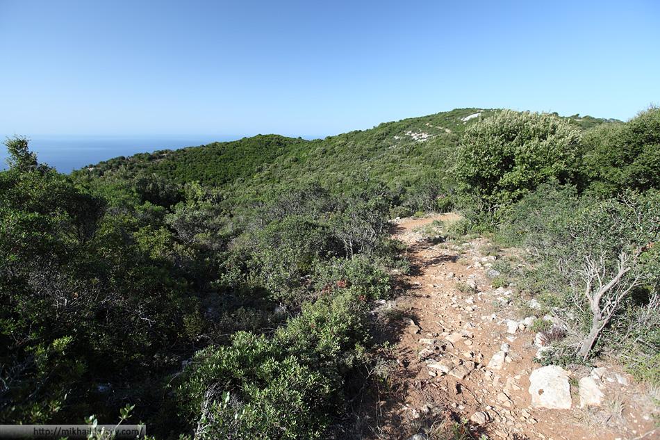 Примерно так выглядела тропинка на всем протяжении нашего пробного маршрута. Гора Ваис.