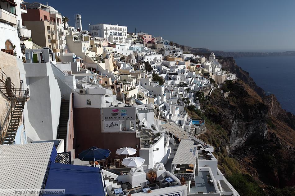 Вид из окна фуникулера. Фира, Санторини, Греция.