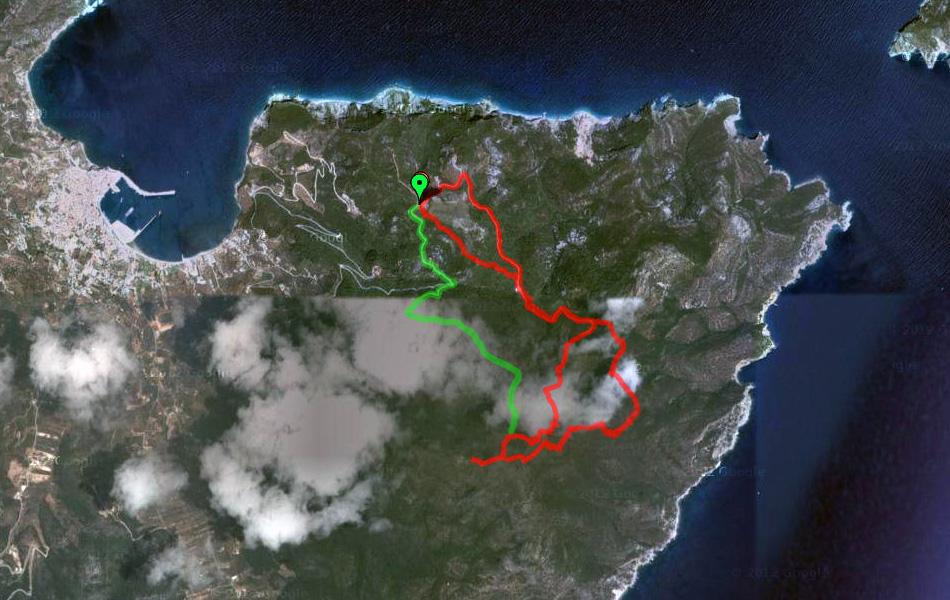 GPS трек маршрута. Зеленным цветом обозначена запланированная, но не пройденная часть маршрута.