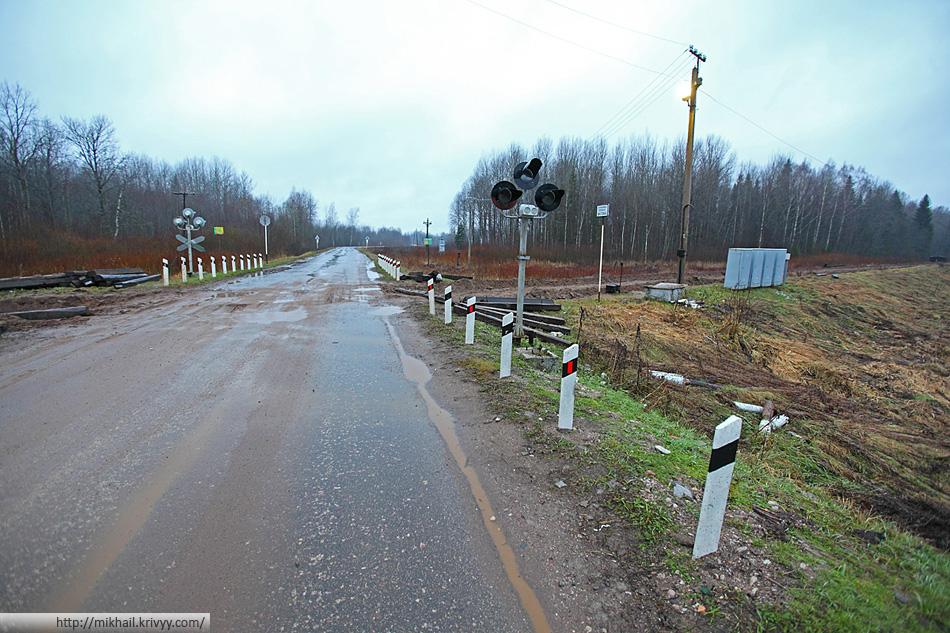 Автодорога Подберезье - Осия - Село Гора. Переезд с разобранной линией.