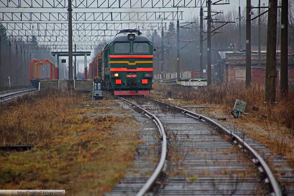 Тепловоз 2М62-1182 с хозяйственным поездом. Разгружают снятые рельсы.