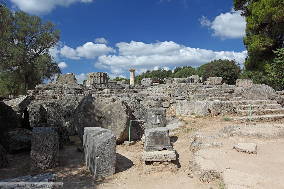 Храм Зевса. Вид с восточной стороны. Олимпия (Olimpia), Греция.