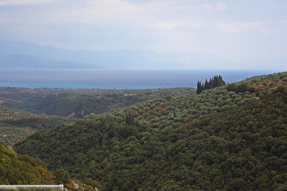 Залив Месиниакос на западе от Каламаты. Греция.