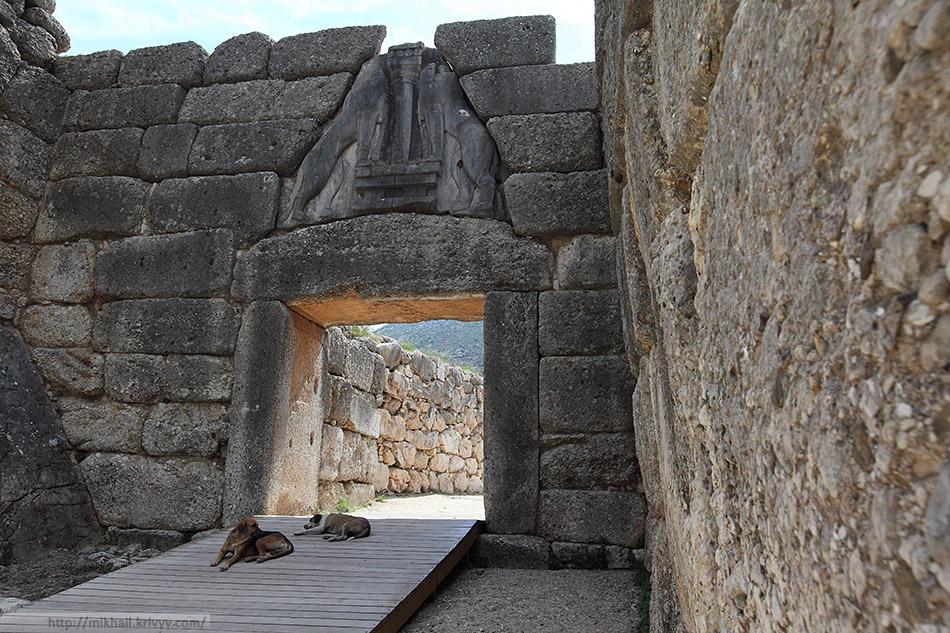 Львиные ворота (Lions Gate). Центральный вход в Микенский акрополь.