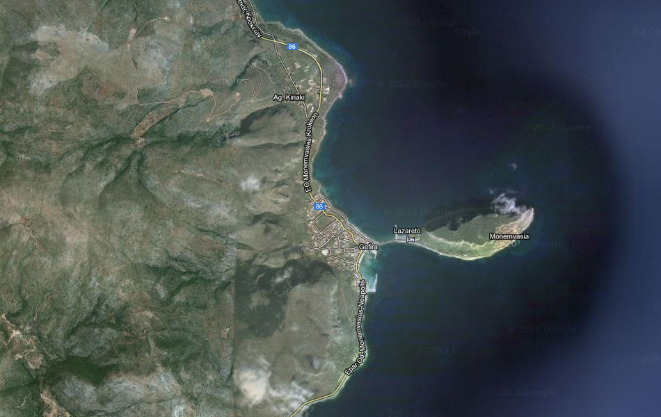 Монемвасия (Monemvasia), Греция. Google Maps.