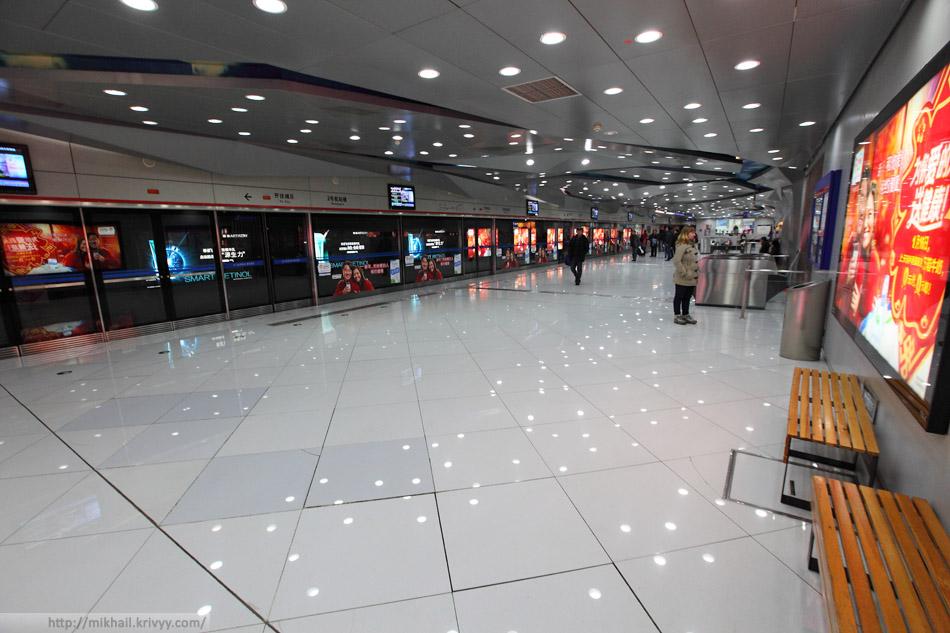 Станция T1/T2, ветки метро Airport Express. Пекин, Китай.
