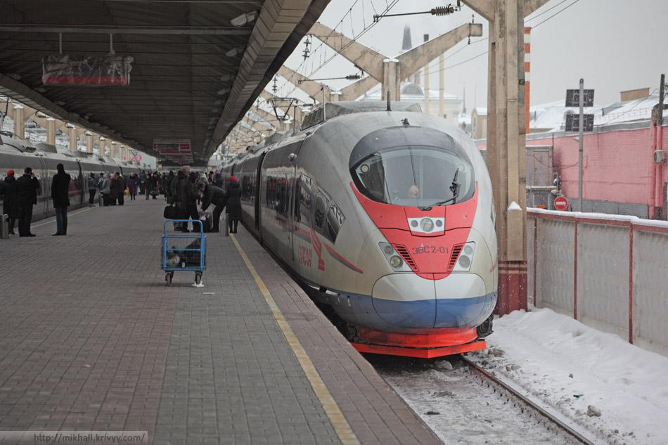 "ЭВС2-01 ""Сапсан"" на Ленинградском вокзале. Москва."