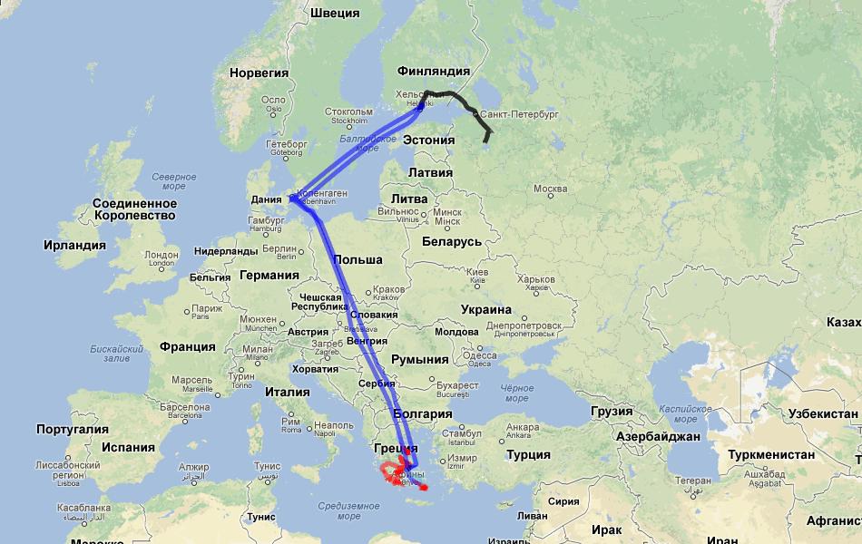 Карта всей поездки. Легенда та же.