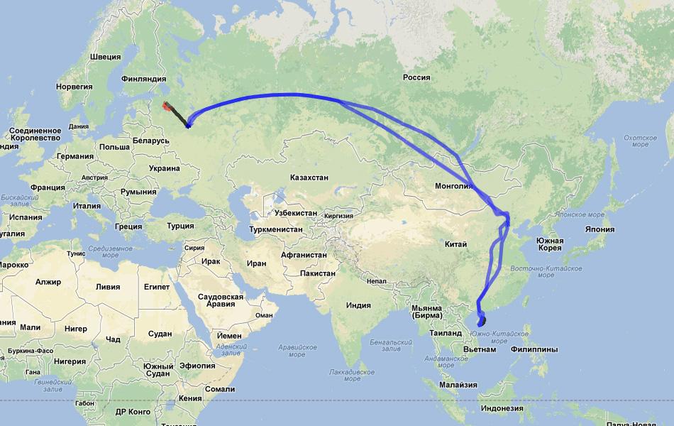 Карта поездки.