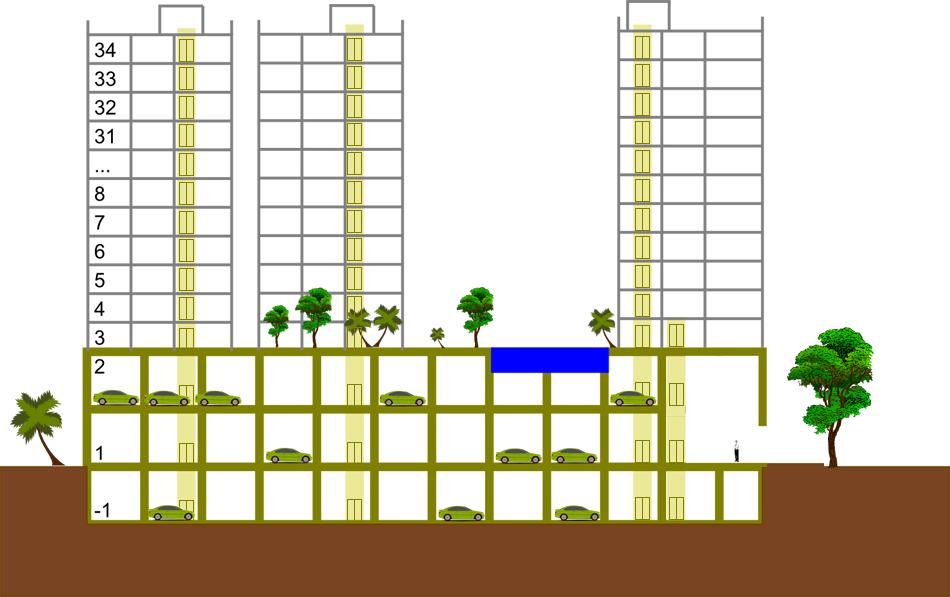 Очень примерная схема жилого комплекса - основание с парковками, коммерческими и общими площадями и пять жилых корпусов.
