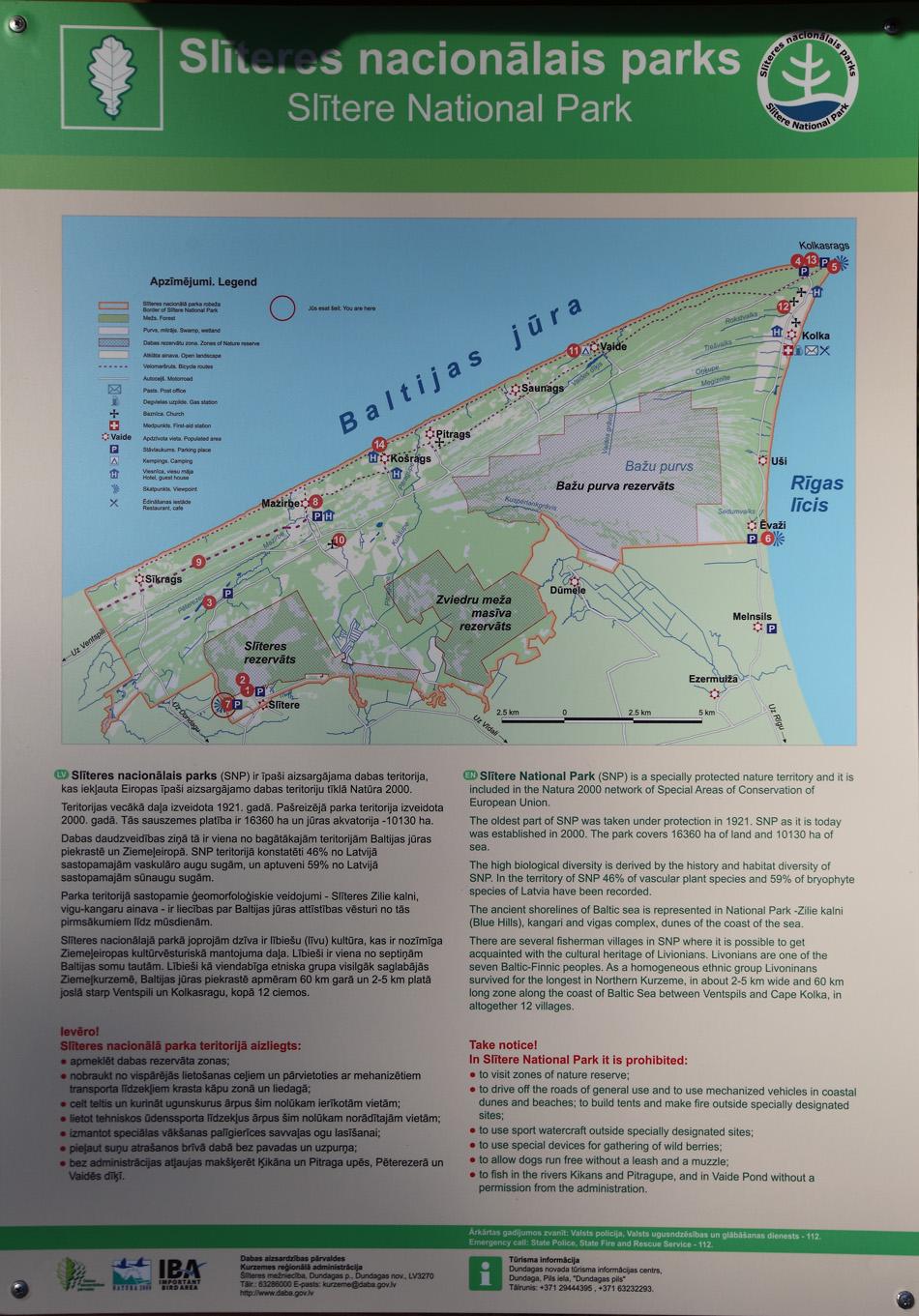 Карта Слитерского национального парка.