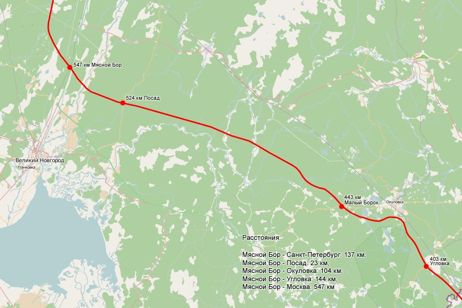 Схема трассы москва-спб